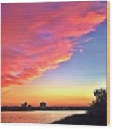 Riverside Skyline Wood Print
