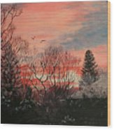 Riverton Sunset Wood Print