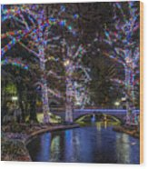 Riverwalk Christmas Wood Print