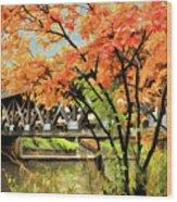 Riverwalk Covered Bridge Wood Print