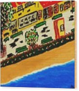 Riviera Beach Cafe Wood Print