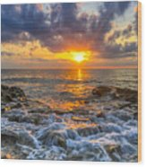 Riviera Beach Sunrise  Wood Print