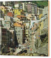 Riviera Hill Town Italy Wood Print