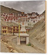 Rizong Monastery Ladakh Jammu And Kashmir India Wood Print