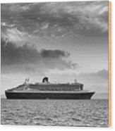 Rms Queen Mary 2 Mono Wood Print