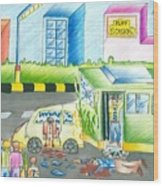 Road Accident Wood Print by Tanmay Singh
