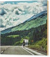 Road Alaska Bicycle  Wood Print