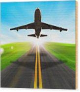 Road And Plane Wood Print