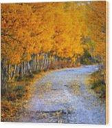 Road Between Trees Wood Print