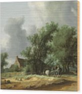 Road In The Dunes With A Passenger Coach After The Rain1631 Wood Print