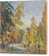 Road Of Autumn Wood Print