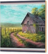 Road On The Farm Haroldsville L B With Decorative Ornate Printed Frame. Wood Print