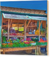 Road Side Fruit Stand Wood Print by William Wetmore