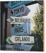 Road Signs Wood Print