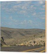 Road Through New Mexico Desert High Noon Wood Print