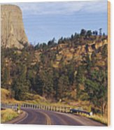 Road To Devils Tower Crossing Belle Fourche River Wood Print by Jeremy Woodhouse