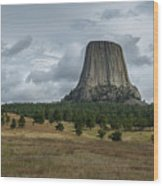 Road To Devils Tower Panorama Wood Print