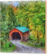 Road To The Covered Bridge Wood Print