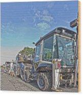 Road Work Machines Hdr Wood Print