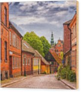 Roads Of Lund Digital Painting Wood Print
