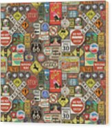 Roads Signs On Wood-jp3958-b Wood Print