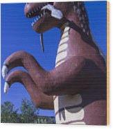 Roadside Dinosaur Wood Print