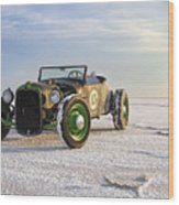 Roadster On The Salt Flats 2012 Wood Print by Holly Martin