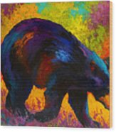 Roaming - Black Bear Wood Print