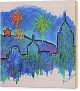 Roanoke In Blue Wood Print