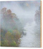 Roanoke River And Fog Wood Print
