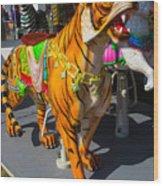 Roaring Tiger Ride Wood Print
