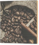 Roasted Coffee Beans In Close-up  Wood Print