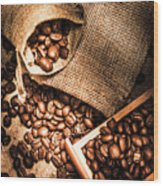 Roasted Coffee Beans In Drawer And Bags On Table Wood Print