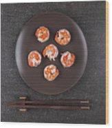 Roasted Shrimps Served On Plate Wood Print