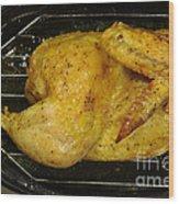 Roasting Half Chicken, 4 Of 4 Wood Print