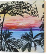 Roatan Sunset Wood Print