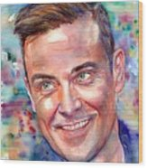 Robbie Williams Portrait Wood Print