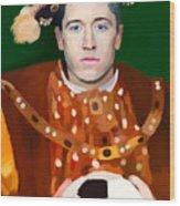 Robert Lewandowski As King Of Soccer Wood Print