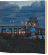 Robert Moses Bridge At Dusk Wood Print