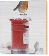 Robin And Postbox Wood Print