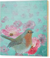 Robin In A Field Of Poppies Wood Print