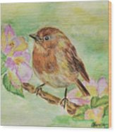 Robin In Flowers Wood Print