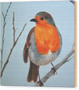 Robin In The Tree Wood Print