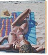 Robin At The Beach Wood Print
