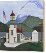 Robinson Point With Mount Rainier Wood Print