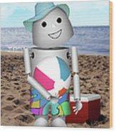 Robo-x9 At The Beach Wood Print