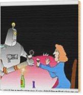 Robot Dining Cartoon Wood Print