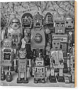 Robot Family Wood Print