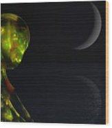 Robot Moonlight Serenade Wood Print