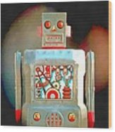 Robot Pop Art R-1 Wood Print